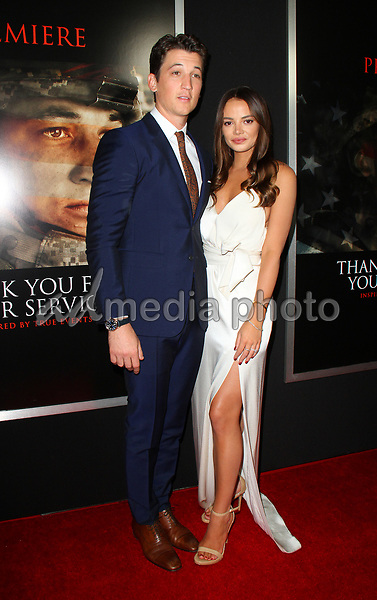 "23 October 2017 - Los Angeles, California - Miles Teller and Keleigh Sperry. ""Thank You For Your Service"" Premiere held at the Regal L.A. Live Theatre in Los Angeles. Photo Credit: AdMedia"