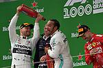 14.04.2019, Shanghai Audi International Circuit, Shanghai, 2019 FORMULA 1 HEINEKEN CHINESE GRAND PRIX<br /> im Bild<br />Sieger Lewis Hamilton (GB#44), Mercedes-AMG Petronas Motorsport, 2.Platz f&uuml;r Valtteri Bottas (FIN#77), Mercedes-AMG Petronas Motorsport, 3.Platz f&uuml;r Sebastian Vettel (GER#5), Scuderia Ferrari<br /> <br /><br /> <br /> Foto &copy; nordphoto / Bratic