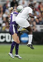Portland's Natalie Budge (15) and Penn State's Natalie Jacobs (6) challenge for a header. The University of Portland Pilots defeated the Penn State University Nittany Lions 3-2 in a penalty kick shootout after the teams played to a 0-0 overtime tie at Aggie Soccer Stadium in College Station, Texas, Friday, December 2, 2005.