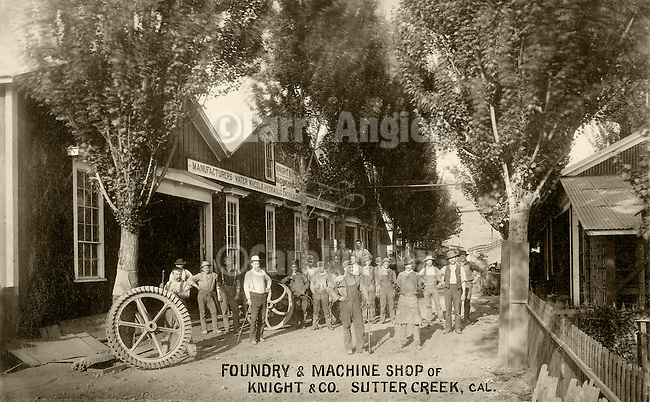 Samuel Knight and his crew, Knight & Company Foundry, Sutter Creek, Calif. From the Amador County Archives
