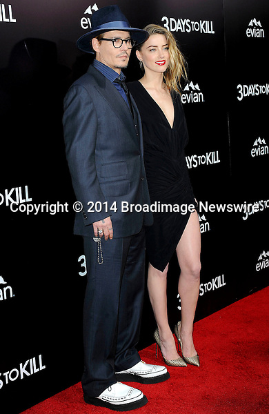 Pictured: Johnny Depp, Amber Heard<br /> Mandatory Credit &copy; Adhemar Sburlati/Broadimage<br /> Film Premiere of 3 Days to Kill<br /> <br /> 2/12/14, Los Angeles, California, United States of America<br /> <br /> Broadimage Newswire<br /> Los Angeles 1+  (310) 301-1027<br /> New York      1+  (646) 827-9134<br /> sales@broadimage.com<br /> http://www.broadimage.com