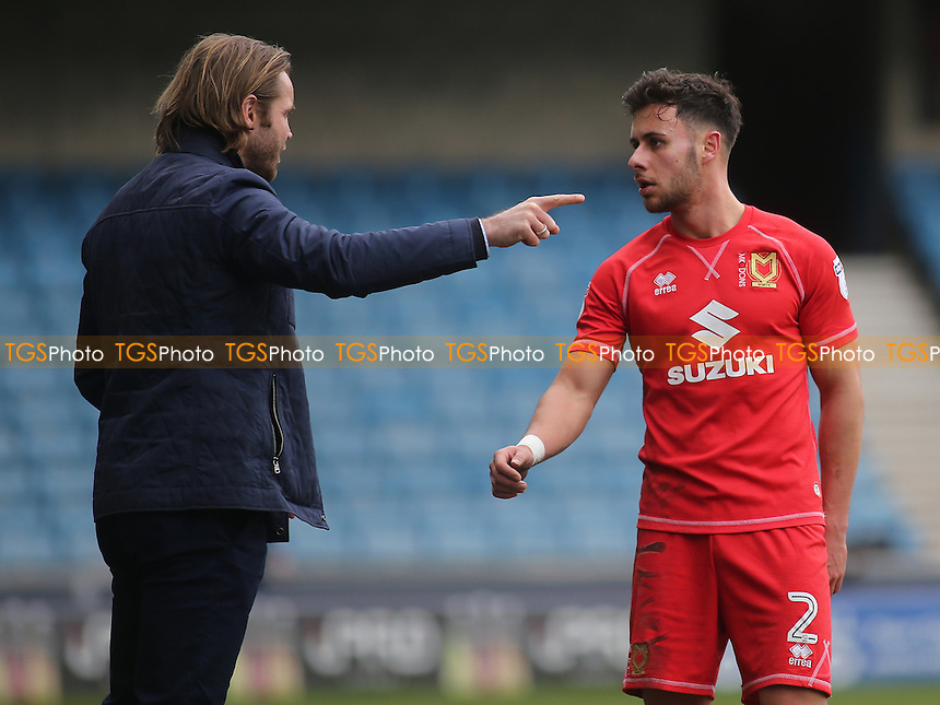 MK Dons Manager, Robbie Neilson, talks tactics with George Baldock during Millwall vs MK Dons, Sky Bet EFL League 1 Football at The Den on 4th March 2017