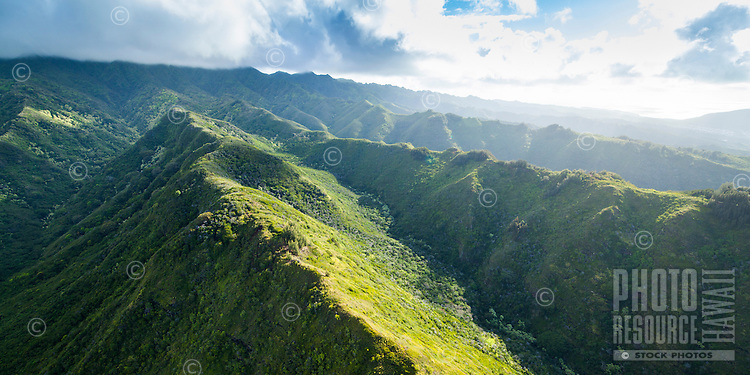 A sunrise aerial shot of Hawai'i Loa Ridge and the Ko'olaus on O'ahu.
