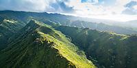 A sunrise aerial shot of Hawai'i Loa Ridge and the Ko'olaus on O'ahu.