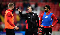 Lincoln City's Michael O'Connor, left, Lincoln City's assistant manager Nicky Cowley, centre, and Lincoln City's Bruno Andrade during the pre-match warm-up<br /> <br /> Photographer Chris Vaughan/CameraSport<br /> <br /> The EFL Sky Bet League Two - Lincoln City v Crewe Alexandra - Saturday 6th October 2018 - Sincil Bank - Lincoln<br /> <br /> World Copyright &copy; 2018 CameraSport. All rights reserved. 43 Linden Ave. Countesthorpe. Leicester. England. LE8 5PG - Tel: +44 (0) 116 277 4147 - admin@camerasport.com - www.camerasport.com