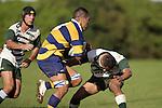 Jeff Maka charges at P. Epati. Counties Manukau Premier Club Rugby, Patumahoe vs Manurewa played at Patumahoe on Saturday 6th May 2006. Patumahoe won 20 - 5.