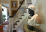 """This bust is incredibly heavy and several strong men were needed to lift it atop a sturdy table in the entryway. """"At Home"""" with Margaret Lowery in her Lake Christine Drive home in Belleville, IL on July 24, 2019. <br /> Photo by Tim Vizer"""
