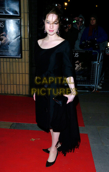 "ANNA POPPLEWELL.The ""Venus"" UK premiere, Chelsea Cinema,.London, England, 22nd January 2007..full length black dress pashmina bag.CAP/CAN.©Can Nguyen/Capital Pictures"