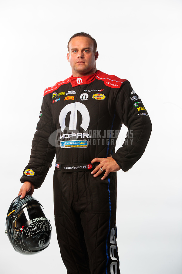 Feb 6, 2019; Pomona, CA, USA; NHRA funny car driver Matt Hagan poses for a portrait during NHRA Media Day at the NHRA Museum. Mandatory Credit: Mark J. Rebilas-USA TODAY Sports