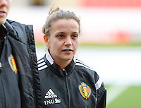20160408 - ROTHERHAM , ENGLAND : Belgian Davina Philtjens  pictured during the female soccer game between England and The Belgian Red Flames - Belgium , the fourth game in the qualification for the European Championship in The Netherlands 2017  , Friday 8 th April 2016 at AESSEAL New York Stadium in Rotherham , England . PHOTO DAVID CATRY