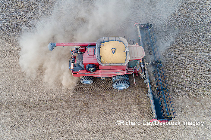 63801-13501 Harvesting soybeans in fall-aerial  Marion Co. IL