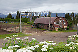 USA, Alaska, Homer, the Trails End Horse Adventures barn located on East End Road