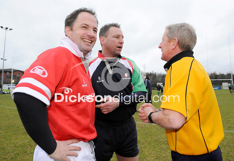 Ulster 1999 skipper David Humphreys , Maurice Field the Wooden Spoon XV skipper make the toss with 1999 European Cup Final referee Clayton Thomas before the charity match between the Ulster 1999 XV and a Wooden Spoon Select XV at Shaw's Bridge Belfast.  Mandatory Credit - Photo : Oliver McVeigh