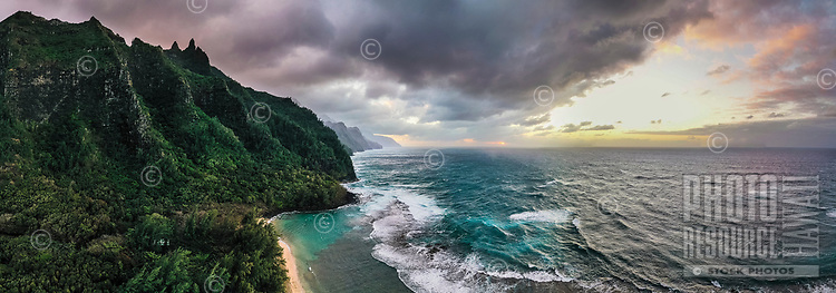 An aerial view of sunset over Na Pali coastline, northern Kaua'i.