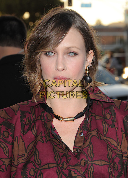 """VERA FARMIGA.L.A Premiere of """"Source Code"""" held at The Cinerama Dome in Hollywood, California, USA..March 28th, 2011.headshot portrait red pink yellow print necklace earrings.CAP/RKE/DVS.©DVS/RockinExposures/Capital Pictures."""