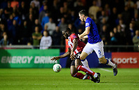 Lincoln City's John Akinde is fouled by Everton's Michael Keane<br /> <br /> Photographer Chris Vaughan/CameraSport<br /> <br /> The Carabao Cup Second Round - Lincoln City v Everton - Wednesday 28th August 2019 - Sincil Bank - Lincoln<br />  <br /> World Copyright © 2019 CameraSport. All rights reserved. 43 Linden Ave. Countesthorpe. Leicester. England. LE8 5PG - Tel: +44 (0) 116 277 4147 - admin@camerasport.com - www.camerasport.com