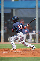 GCL Twins left fielder Samuel Vasquez (37) hits a sacrifice fly during a game against the GCL Rays on August 9, 2018 at Charlotte Sports Park in Port Charlotte, Florida.  GCL Twins defeated GCL Rays 5-2.  (Mike Janes/Four Seam Images)