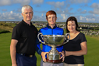 Ronan Mullarney (Galway) with his Mum and Dad after wining the AIG Irish Amateur Close Championship 2019 in Ballybunion Golf Club, Ballybunion, Co. Kerry on Wednesday 7th August 2019.<br /> <br /> Picture:  Thos Caffrey / www.golffile.ie<br /> <br /> All photos usage must carry mandatory copyright credit (© Golffile | Thos Caffrey)