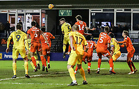 Fleetwood Town's Ashley Eastham attacks a cross<br /> <br /> Photographer Andrew Kearns/CameraSport<br /> <br /> The EFL Sky Bet League One - Luton Town v Fleetwood Town - Saturday 8th December 2018 - Kenilworth Road - Luton<br /> <br /> World Copyright &copy; 2018 CameraSport. All rights reserved. 43 Linden Ave. Countesthorpe. Leicester. England. LE8 5PG - Tel: +44 (0) 116 277 4147 - admin@camerasport.com - www.camerasport.com