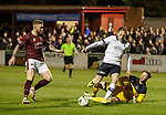 22.11.2019 Linlithgow Rose v Falkirk: Declan McManus tries to go around keeper Michael McKinven