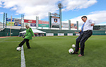 Reno Mayor Hillary Schieve and Nevada Gov. Brian Sandoval kick the ceremonial first goals after officials announce the addition of a United Soccer League franchise at the Aces Ballpark in Reno, Nev., on Wednesday, Sept. 16, 2015.  <br /> Photo by Cathleen Allison