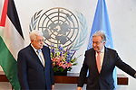 Palestinian President Mahmoud Abbas, meets with United Nations Secretary-General Antonio Guterres at UN headquarters, February 20, 2018 in New York City. Abbas called for an international Middle East peace conference to be convened later this year. Photo by Thaer Ganaim