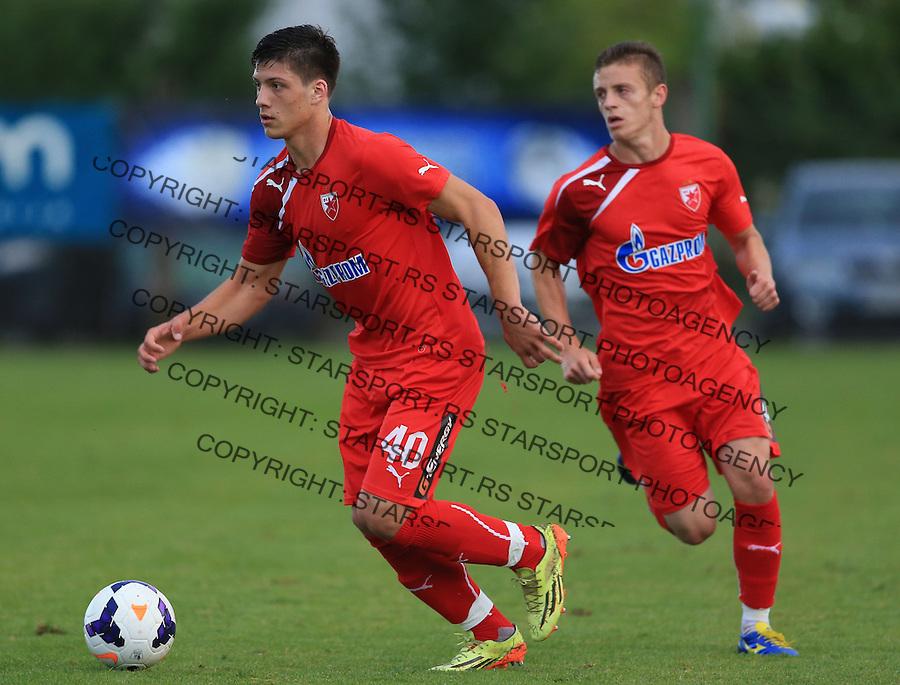 Fudbal season 2013-2014<br /> FK Crvena Zvezda pripreme<br /> Prijateljski mec<br /> Crvena Zvezda v Verzej<br /> Luka Jovic and Milos Brajovic (R)<br /> Brezice, 07.09.2014.<br /> foto: Srdjan Stevanovic/Starsportphoto &copy;