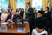 Sam Brownback, United States Ambassador-at-Large for International Religious Freedom, speaks as US President Donald Trump welcomes survivors of religious persecution to the Oval Office at the White House in Washington, D.C. on Wednesday, July 17, 2019. <br /> Credit: Kevin Dietsch / Pool via CNP