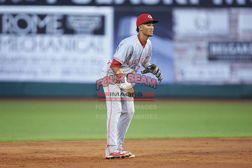 Greeneville Reds shortstop Miguel Hernandez (33) on defense against the Pulaski Yankees at Calfee Park on June 23, 2018 in Pulaski, Virginia. The Reds defeated the Yankees 6-5.  (Brian Westerholt/Four Seam Images)