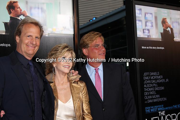 "LOS ANGELES - JUN 20:  Jeff Daniels, Jane Fonda, Aaron Sorkin arrives at HBO's ""The Newsroom"" Los Angeles Premiere at Cinerama Dome Theater on June 20, 2012 in Los Angeles, CA"