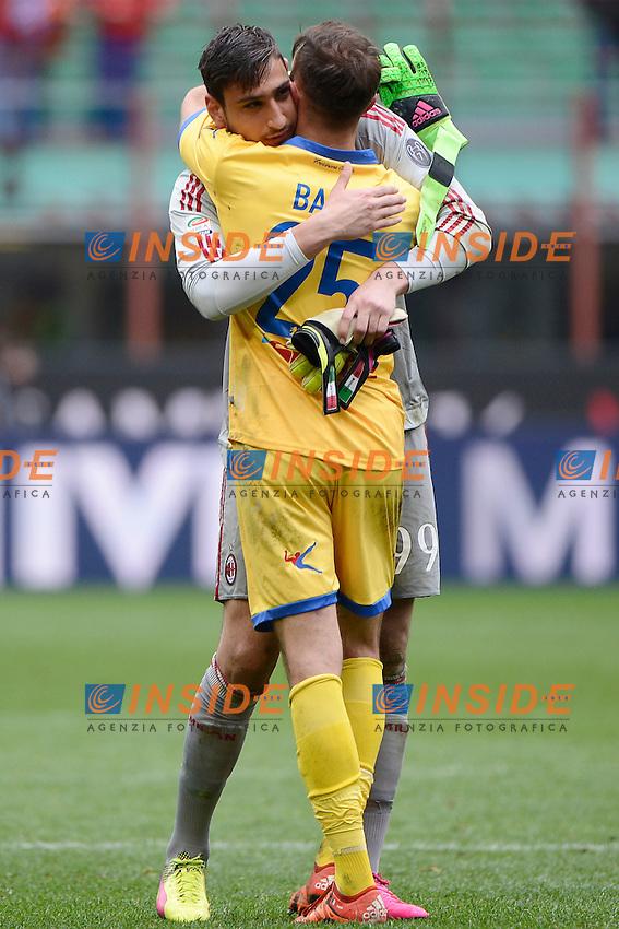 Gianluig Donnarumma Milan e Francesco Bardi Frosinone<br /> Milano 01-05-2016 Stadio Giuseppe Meazza - Football Calcio Serie A Milan - Frosinone. Foto Giuseppe Celeste / Insidefoto