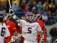 Connor Fields (#5) celebrates a goal as UAlbany Men's Lacrosse defeats Richmond 18-9 on May 12 at Casey Stadium in the NCAA tournament first round.