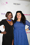 Color of Beauty Awards - Nicole Ferrell - Trophy Girl poses with Michelle Buteau on VH1's Big Morning Buzz Live on red carpet, awards and cocktail reception at Ana Tzarev Gallery, New York City, New York.  (Photo by Sue Coflin/Max Photos)