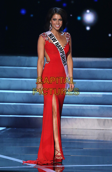 Amber Faucher, Miss New Hampshire USA<br />  2013 Miss USA Pageant Preliminary competition at PH Live inside Planet Hollywood Resort and Casino, Las Vegas, NV, USA, <br /> 12th June 2013.<br /> full length red  dress sash  <br /> CAP/ADM/MJT<br /> &copy; MJT/AdMedia/Capital Pictures