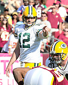 Green Bay Packers quarterback Aaron Rogers directs the offense in the fourth quarter against the Washington Redskins at FedEx Field in Landover, Maryland on Sunday, October 10, 2010.  The Redskins won the game in overtime 16 - 13..Credit: Ron Sachs / CNP