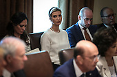 First Daughter and Advisor to the President Ivanka Trump, center, Senior Advisor for Policy Stephen Miller, upper right and White House Press Secretary Stephanie Grisham, upper left, listens to United States President Donald J. Trump during a Cabinet Meeting in the Cabinet Room of the White House, on July 16, 2019 in Washington, DC.<br /> Credit: Oliver Contreras / Pool via CNP