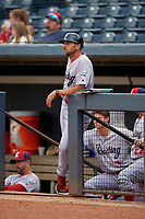 Reading Fightin Phils coach Nelson Prada (16) before an Eastern League game against the Akron RubberDucks on June 4, 2019 at Canal Park in Akron, Ohio.  Akron defeated Reading 8-5.  (Mike Janes/Four Seam Images)