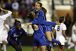 02 December 2011: Duke's Kim DeCesare (19) celebrates her goal with teammates Natasha Anasi (4) and Katie Trees (right). The Duke University Blue Devils played the Wake Forest University Demon Deacons at KSU Soccer Stadium in Kennesaw, Georgia in an NCAA Division I Women's Soccer College Cup semifinal game.