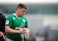 Adam McBurney of Ireland U20 looks to throw into a lineout. World Rugby U20 Championship match between New Zealand U20 and Ireland U20 on June 11, 2016 at the Manchester City Academy Stadium in Manchester, England. Photo by: Patrick Khachfe / Onside Images