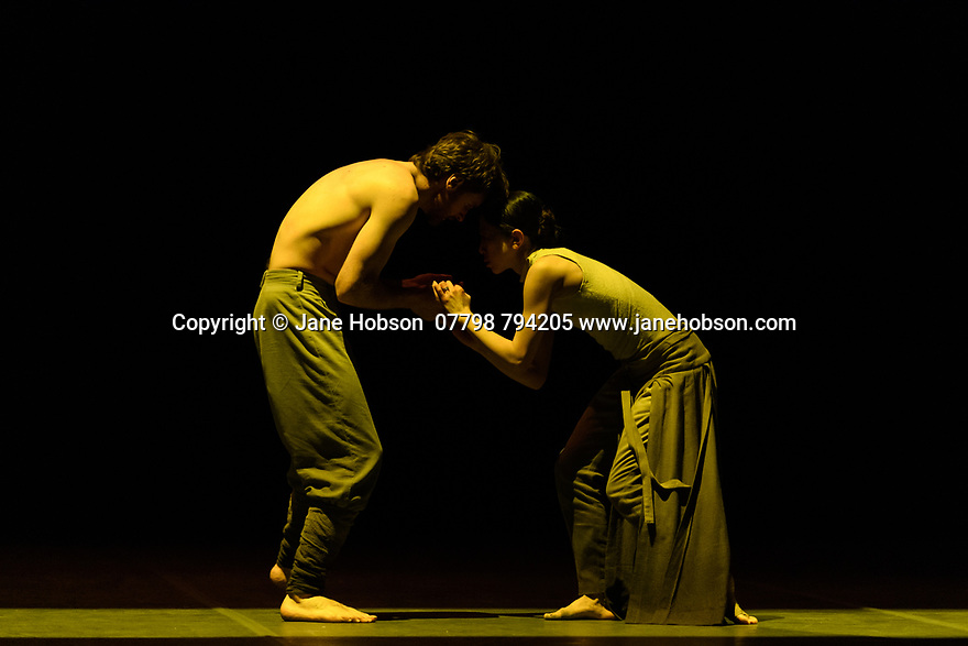 "London, UK. 26.01.2020. Erina Takahashi and James Streeter, rehearse Akram Khan's ""Dust"", for the Ballet Icons Gala 2020, at the London Coliseum. Photograph © Jane Hobson."