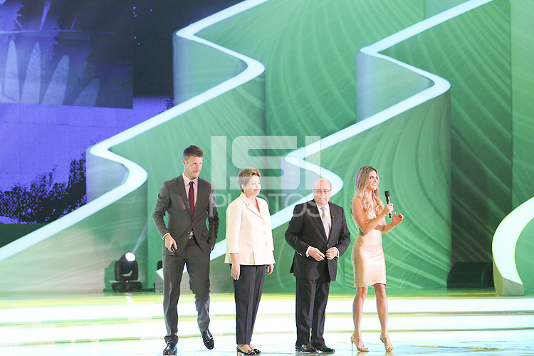 Costa do Sau&iacute;pe, Bahia, Brazil - Friday, Dec 6, 2013: <br /> FIFA holds the World Cup 2014 draw in Brazil, at a coastal resort town of Costa do Sau&iacute;pe in the State of Bahia. Brazilian actors Fernanda Lima and Rodrigo Hilbert host the draw for 32 teams who have qualified for the finals.<br /> President of Brazil Dilma Rousseff and President of FIFA Joseph Sepp Blatter open the ceremony.