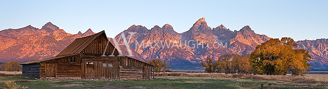 One of the famous Moulton Barns at Mormon Row in the Grand Tetons, photographed at sunrise.<br />