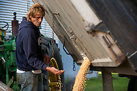 """Dozer checks the quality of soybeans as they go into a silo. """"I was born into farming,"""" Dozer said. """"This is all I know.""""<br /> --Harvesting soybeans on the Greenfields' farm in Skaneateles New York."""