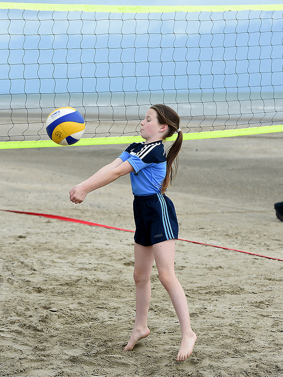 Clara Markham Lynch in action at the launch of the volleyball competitions on Bettystown beach. Photo:Colin Bell/pressphotos.ie