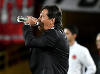 BOGOTA - COLOMBIA - 08 - 03 - 2018: Flabio Torres, técnico de Deportivo Pasto, durante partido de la fecha 7 entre Independiente Santa Fe y Deportivo Pasto, por la Liga Aguila I 2018, en el estadio Nemesio Camacho El Campin de la ciudad de Bogota. / Flabio Torres, coach of Deportivo Pasto, during a match of the 7th date between Independiente Santa Fe and Deportivo Pasto, for the Liga Aguila I 2018 at the Nemesio Camacho El Campin Stadium in Bogota city, Photo: VizzorImage / Luis Ramirez / Staff.