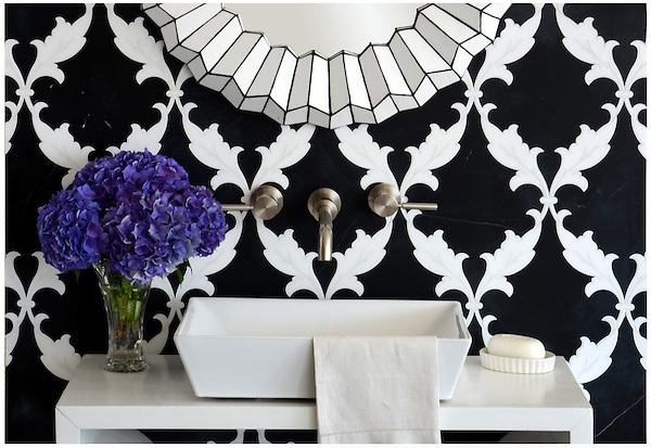 Tamara, a stone waterjet mosaic shown in Nero Marquina honed and Thassos polished, is part of the Silk Road Collection by Sara Baldwin for New Ravenna Mosaics.
