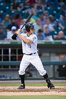 Carson Blair (5) of the Charlotte Knights at bat against the Indianapolis Indians at BB&T BallPark on June 16, 2017 in Charlotte, North Carolina.  The Knights defeated the Indians 12-4.  (Brian Westerholt/Four Seam Images)