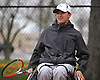 Nate Melnyk of Harborfields prepares for a third doubles varsity boys tennis match against host Smithtown High School East on Tuesday, Apr. 29, 2016. The wheelchair-using junior played in his first varsity match, which was suspended in the first set due to rain. The match is set to resume on Monday, May 2.