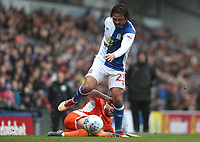 Blackburn Rovers' Bradley Dack qnd Blackpool's Jimmy Ryan<br /> <br /> Photographer Rachel Holborn/CameraSport<br /> <br /> The EFL Sky Bet League One - Blackburn Rovers v Blackpool - Saturday 10th March 2018 - Ewood Park - Blackburn<br /> <br /> World Copyright &copy; 2018 CameraSport. All rights reserved. 43 Linden Ave. Countesthorpe. Leicester. England. LE8 5PG - Tel: +44 (0) 116 277 4147 - admin@camerasport.com - www.camerasport.com