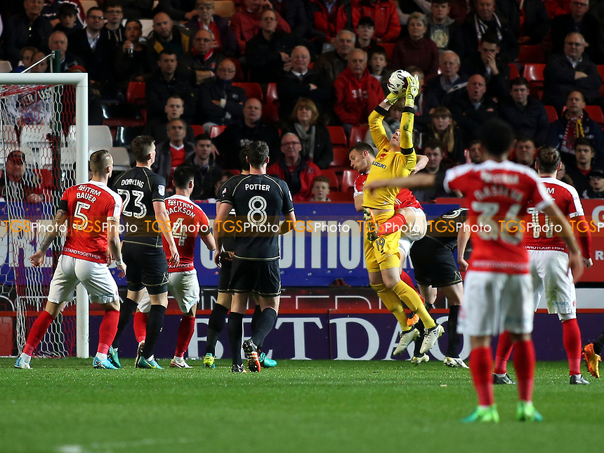 MK Dons goalkeeper, Lee Nicholls, makes a fine save during Charlton Athletic vs MK Dons, Sky Bet EFL League 1 Football at The Valley on 4th April 2017